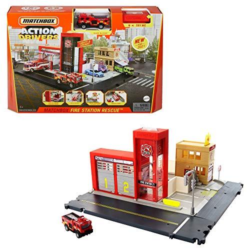 Matchbox Playset Playset Caserma dei Pompieri con Camion, Effetti Luminosi e Sonori, Giocattolo per Bambini 3+ Anni, HBD76