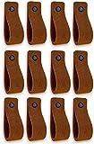 Brute Strength - Tirador de cuero - Coñac - Ante - 12 piezas - 16,5 x 2,5 cm - incluye tres colores de tornillos por manija de cuero para los gabinetes de cocina - baño - gabinetes