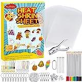Auihiay 198 Piezas El kit de plástico retráctil incluye 20 hojas de papel retráctil, perforadora, llaveros, accesorios y lápices para adornos de bricolaje o manualidades creativas