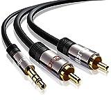 IBRA 0.5m - Cable 3.5mm de Audio Estéreo Macho a 2 RCA Macho con Conector Pequeño de Metal | para iPhone6,5S,5, 4S y 4, iPod, iPhone y Samsung | 0.5 Metros/Gun Metal