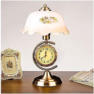 DSMGLRBGZ Lampe De Bureau Vintage Verre Gravé Main Lampadaire Horloge Antique Interrupteur Base Bronze, Art Deco Chambre p...