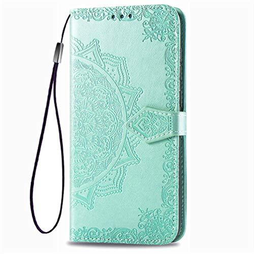 KERUN Hülle für Xiaomi Mi 10T Pro 5G Flip Lederhülle, 3D Mandala Muster Geprägte Prägung Handyhülle, Premium Leder Brieftasche Handytasche Schutzhülle mit Kartenfach Standfunktion.Grün