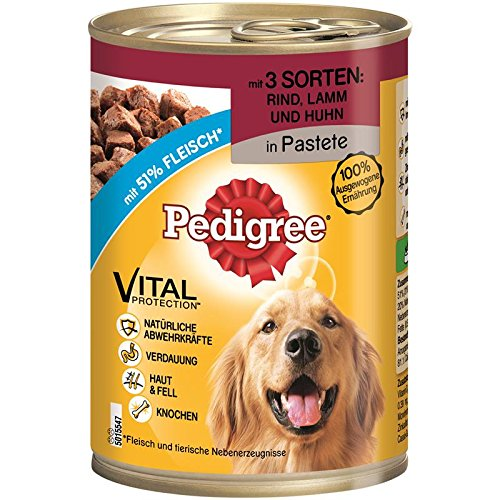 PEDIGREE Adult 3 Sorten: Rind & Lamm & Huhn | 12x 400g Hundefutter