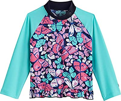 Coolibar UPF 50+ Baby Girls' Guppy Ruffle Swim Shirt - Sun Protective (6 Months- Multicolor Butterflies)