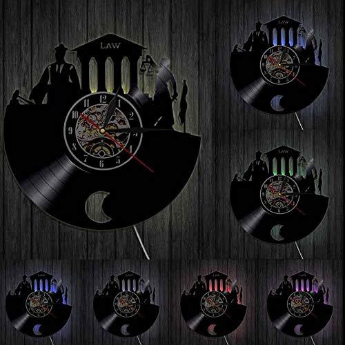 bbmmww Abogado Verdad Arte De La Pared Despacho De Abogados Juez Corte Decoración Reloj De Pared Ley Mujer Balanza De La Justicia Disco De Vinilo Reloj De Pared