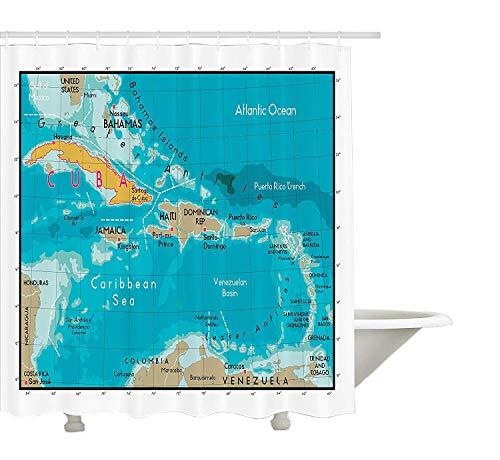 Colección de decoración Yeuss Wanderlust, Mapa de Cuba y geografía del océano del mar del Caribe División política Imagen de bordes de tierra, Cortina de baño de tela de poliéster, Aguamarina y marfil