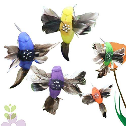 Kleurrijke Zonne-Fluttering Kolibratie, Zonne-energie Elektrische Vibratie Dansende Vliegende Wobble Veer Vogel voor Outdoor Tuin Yard Planten Bloemen Decoratie