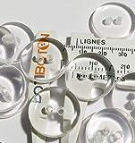 50 bottoni trasparenti da 15 mm – Reversibili – Artigianalità – Cucitura – Prodotto e spedito dalla Spagna