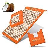 Wellax - Tappetino per agopressione con cuscino, imbottito con fibra di cocco, scioglie le tensioni e favorisce la circolazione sanguigna, tappetino massaggiante con cuscino per agopressione e borsa