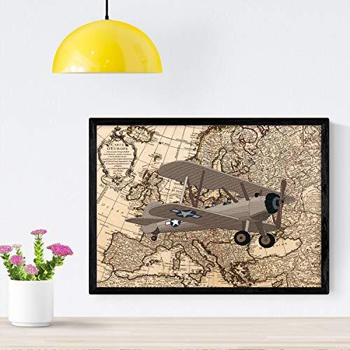 Nacnic Poster de Rumbo a Rusia. Láminas de mapas del mundo. Decoración con mapas e imágenes vintage. Tamaño A4 con marco