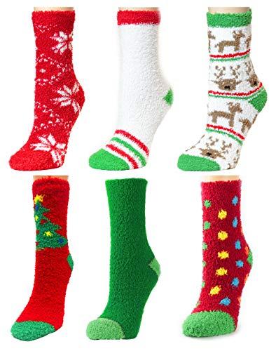 Christmas Socks Fuzzy Fluffy Adults Men Women Teens Winter Warm Xmas, Size 9-11