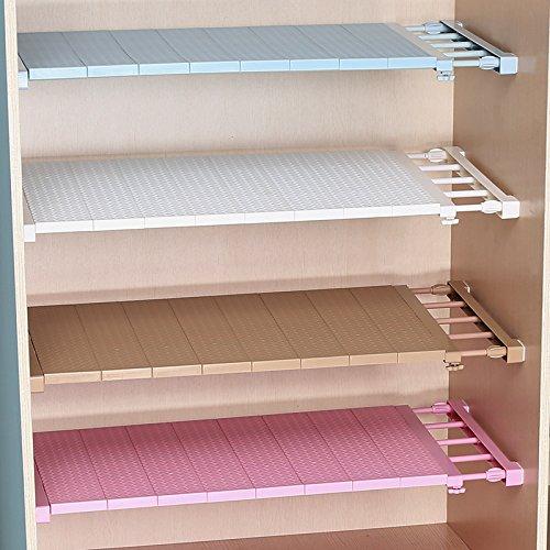 Adjustable Closet Organizer Storage Shelf Wall Mounted Kitchen Rack Space Saving Wardrobe Decorative Shelves Cabinet Holders (35 cm Wide 50-80cm Length, Blue)