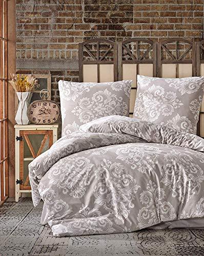 Bettwäsche 135x200 cm. 2 teilig Set. beige, 100% Baumwolle/Renforcé mit reißverschluss atmungsaktiver bettbezug weiß barock Gemustert mit Kissenbezug 80x80 cm. Sade V2