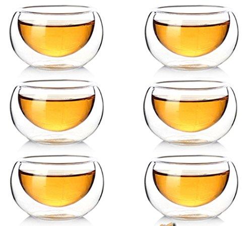 Juego de 10 tazas de café, de cristal transparente de doble pared con aislamiento resistente al calor, 50 ml