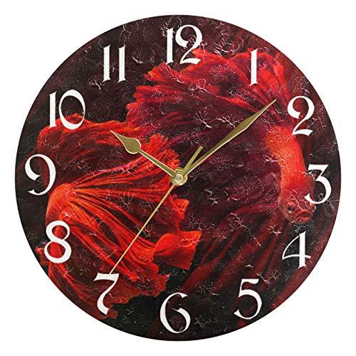 ART VVIES Reloj de Pared Redondo de 10 Pulgadas, sin tictac, silencioso, Dorado, con Pilas, para Oficina, Cocina, Dormitorio, decoración del hogar, Color Rojo, pez Luchador siamés (Cola de Rosa)