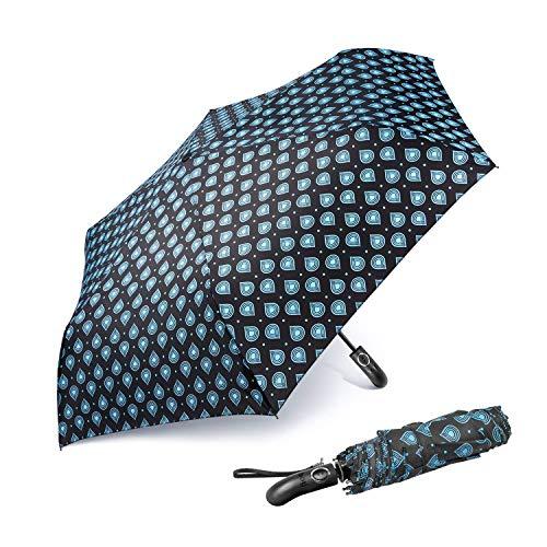boy® Faltschirm Automatischer Regenschirm Automatisches Öffnen und Schließen, Kleiner Regenschirm Reiseschirm für Frauen Damen Mädchen, Rutschfester Griff für einfachen Halt, blau (Blau) - B07D8QWGG4