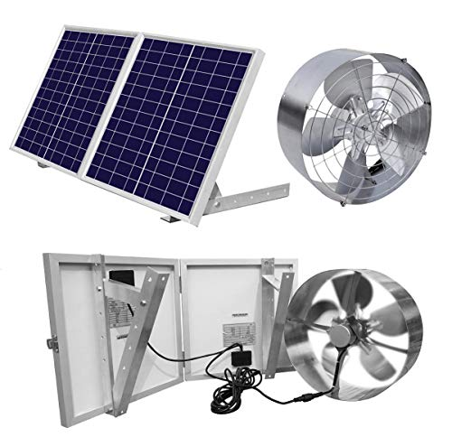 ECO-WORTHY 25W Solar Powered Attic Ventilator Gable Roof Vent Fan with 30W Foldable Solar Panel - Solar Fans for Home Attic, Greenhouse, RV or Outdoor, Ready-to-Use Solar Vent Fan, Solar Roof Vent