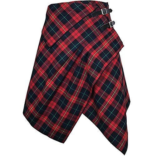 Tartan Skirt - 3 Pocket Skirt in 2 Traditional Scottish Tartan Colors (M, Red Rose/Medieval Blue)