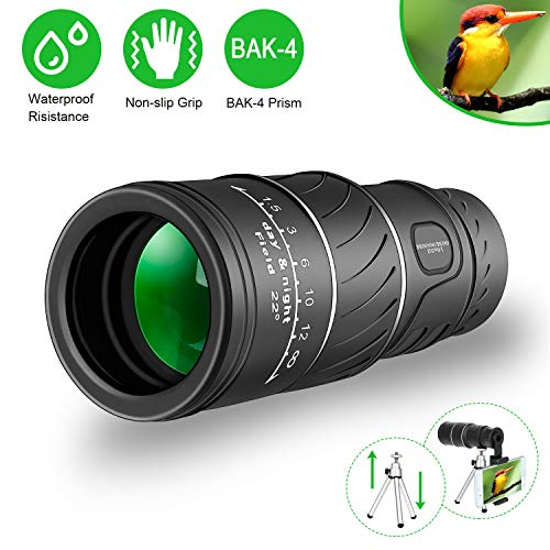 Monocular Telescope, 16x52 High Power HD Monocular with Smartphone Holder & Tripod, [Upgrade] Waterproof Monocular with Durable and Clear FMC BAK4 Prism Dual Focus for Bird Watching (Black)