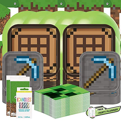 Unique Minecraft Dinnerware Bundle for 16 | Table Covers, Napkins, Dinner & Dessert Plates, Banner, Candles, Balloons| Kid
