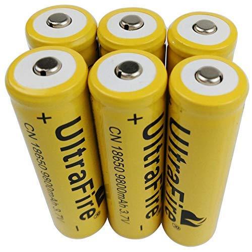 Cloverclover 6 X 3.7V 18650 9800mAh batería recargable de iones de litio para linterna antorcha LED RC