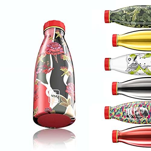 Bboom Borraccia Leggera e compatta 520 ml   110 gr di Peso   Bottiglia Acqua in Acciaio Inossidabile Senza BPA   Ecologica e Durevole, a Prova di perdite (Motivo Floreale)