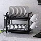 ZOOCHII 2-Tier Over Sink Dish Rack Big Capacity Sink Organize Stand with Utensil Knife Holder and Cutting Board Holder Dish Drainer with Removable Drain Board & multifunctional 6 adjustable hooks
