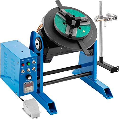 VEVOR Rotary Welding Positioner 30KG Welder Turntable Table 0-90º Positioning Turntable 1-15 RPM Welder Positioning Machine w/ 310mm 3-Jaw Lathe Chuck 110V for Cutting, Grinding, Assembly and Testing