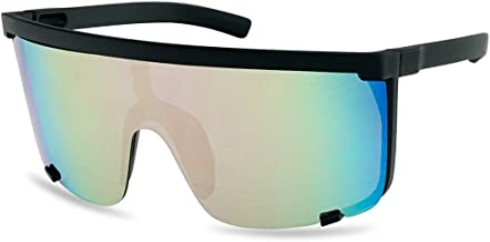 SunglassUP Oversized 150mm Super Shield Mirrored Lens Sunglasses Retro Flat Top Matte Black Frame