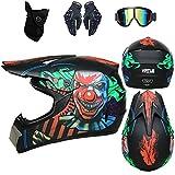 Casco de motocross infantil D. O. T Standard – para adulto con guantes, gafas, máscara/descenso Cross Country MTB Ados (negro,M)
