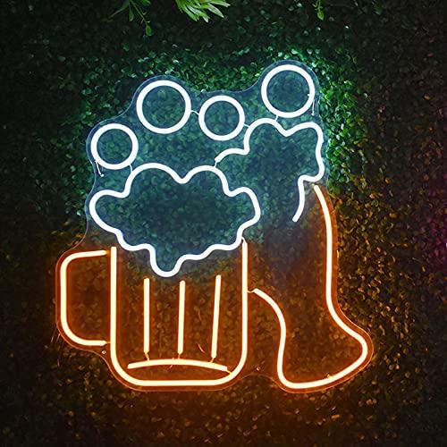AFCC Scritta Neon da Parete Bar,Insegna LED Bar,Tubo LED Flessibile,Luce al Neon per Boccale di Birra,Adattatore di Alimentazione,di Colore Giallo-Bianco (32x34cm)