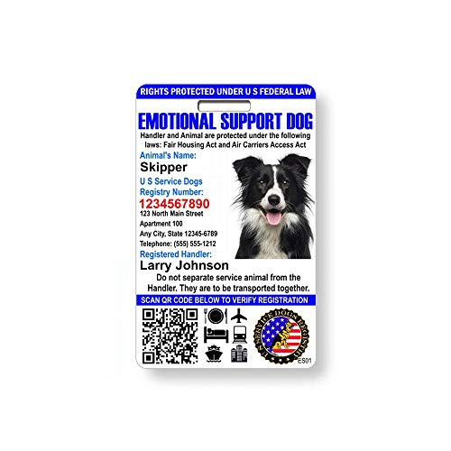 Just 4 Paws Custom Holographic QR Code Emotional Support ID Card with Registration to U S Service Dogs Registry Plus ID Holder & Free Digital ID - Portrait Style