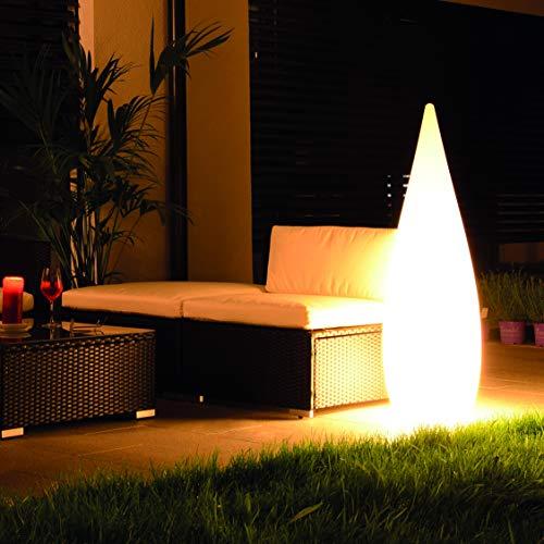 Designer Lounge Leuchte inkl. 6 Watt rgb LED Birne – Stehlampe für den Innen- und Außenberiech, Höhe 120 cm inkl. Fernbedienung, Regentropfen-Design