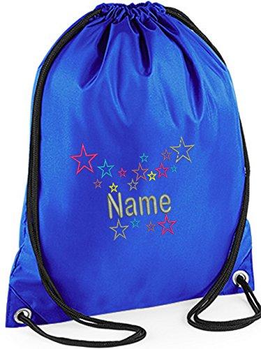 EMBROIDERED Personalised Drawstring Multi-Grey Stars GYM Bag,Ideal for Gym ,School,, Nursery, Swim ,PE, Dance Kit, (ROYAL)