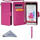 Wisdompro LG G3 Case, Premium PU Leather 2-in-1 Folio Flip Wallet Protective Case Cover Built-in Credit Card Holder Slots and with Wrist Lanyard for LG G3 - Hot Pink(Not fit LG G3 Vigor)