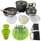 QDWRF Juego De Utensilios De Cocina para Acampar, Sartenes De Camping Portátiles De 2-3 Personas para Excursionismo De Excursionismo Picnic Al Aire Libre A