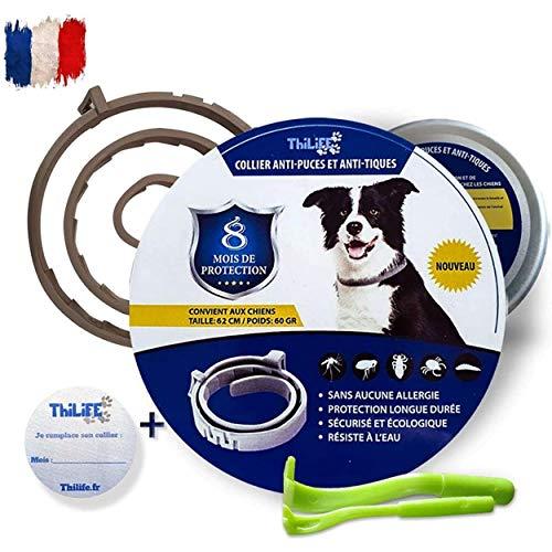 Thilife :Collar antiparasitarios perro + 8kg | Mediano Grandes contra Pulgas, Garrapatas, antipulgas y Mosquitos | Con aceites esenciales |8 meses de protección | ofreció 2 pinza quita garrapatas
