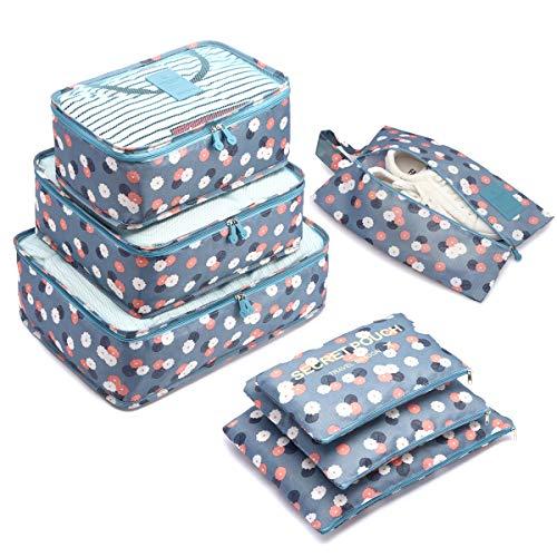 Organizador de Equipaje,LOSMILE 7 en 1 Set Impermeable Organizadores de Viaje para Maletas,3 Cubos de Embalaje +3 Bolsas de Almacenamiento+1 Saco de Zapatos.(Azul-Flor)