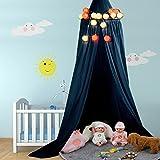 Betthimmel Baldachin aus Baumwolle Leinwand Deko Baldachin für Kinderzimmer Babybetthimmel auch als Mückenschutz Gute Luftzirkulation, mit Installation Tools, Höhe 235cm (Dunkelblau)