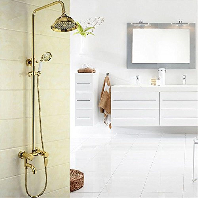 S.TWL.E Küche Küchenarmatur Waschtischarmatur Mischbatterie Spülbecken Armatur Wasserhahn Bad Die Badezimmer Dusche Kupfer Gold in die Wand Regendusche Handbrause dritter Gang