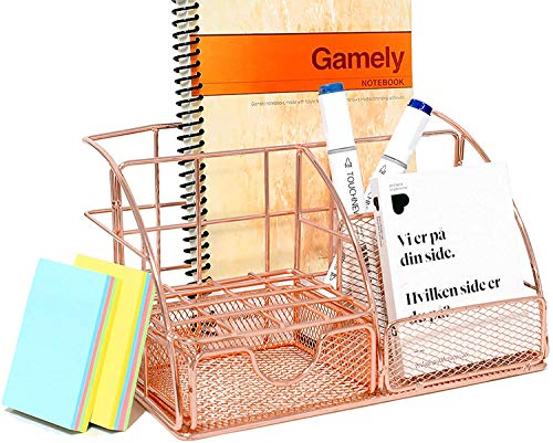 Qualsen Rose Gold Desk Organiser, Mesh Pen Pencil Holders Desk Tidy Stationary Office Desktop Accessories, with Drawer For School Office Supplies
