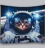 Amiiba Astronauta Gato Tapiz de pared Espacio Exterior Universo Galaxia Tapiz colgante de pared Planeta Tierra Decoración del hogar para dormitorio, sala de estar (gato, L - 200,7 x 149,9 cm)