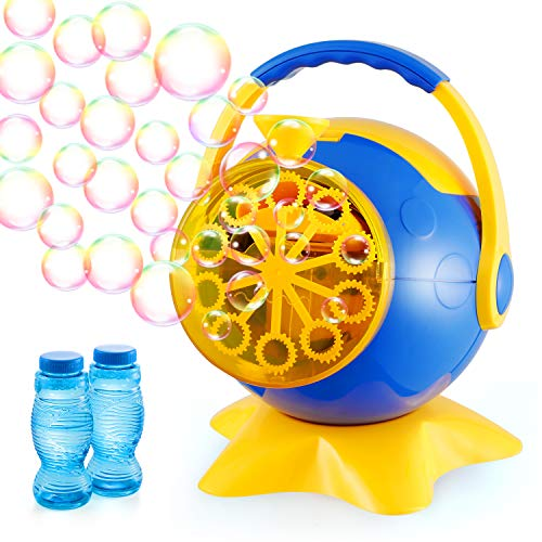 Theefun Bubble Machine, Automatic Bubble Blower Toys with 800+ Bubbles Per Minute & 2 Bottles of Bubbles Solution Refill, Durable Bubble Machine for Kids Toddlers Parties Baby Bath Indoor Outdoor