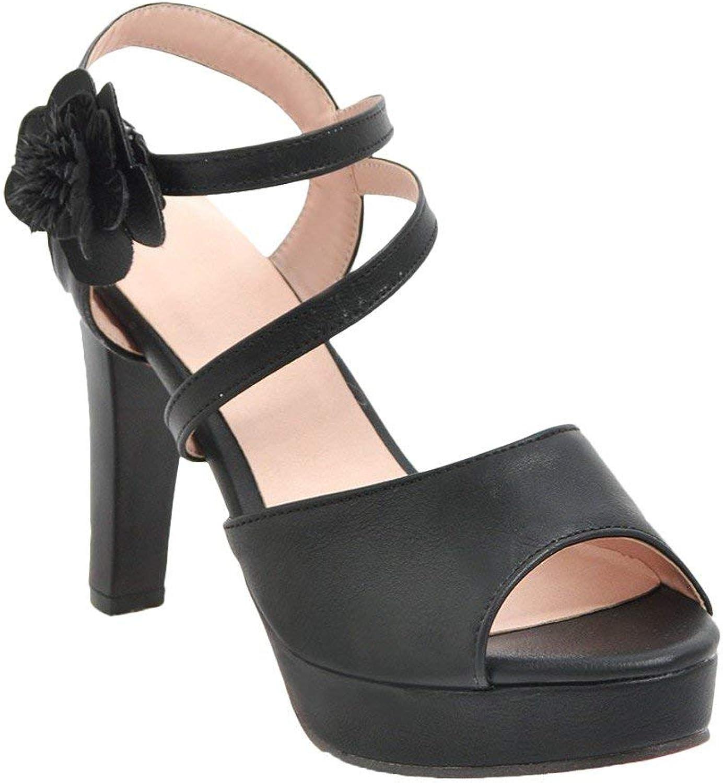 Ghapwe Women's High Heel Ankle Strap Peep Toe Flower Sandals Black 8 M US