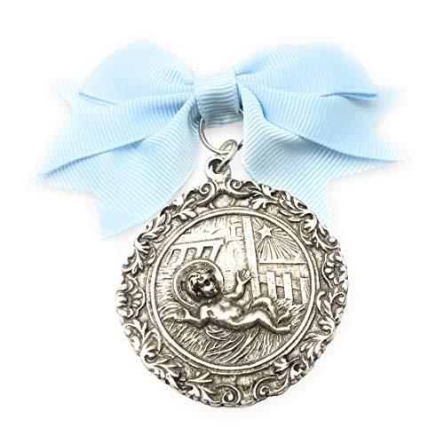 Medalla de Cuna Niño en Paja bañada en Plata de Ley