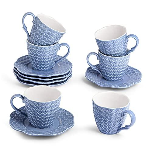 Sunting Juego de Tazas de Café de Porcelana para 6 personas. Diseño en Relieve Juegos de Cafe Mug de Porcelana. 6 Azul Tazas de Desayuno/Tazas de Te 175 ml y 6 Platillos. Nueva Porcelana de Hueso
