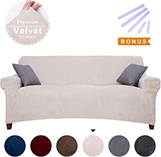ACOMOPACK Premium Velvet Stretch Sofa Slipcovers, Spandex Beige Sofa Cover with Velvet Plush Fabric for 3 Cushion Couch, High-Stretch 3 Piece Cover Protector and Couch Cover for 3 Cushion Couch