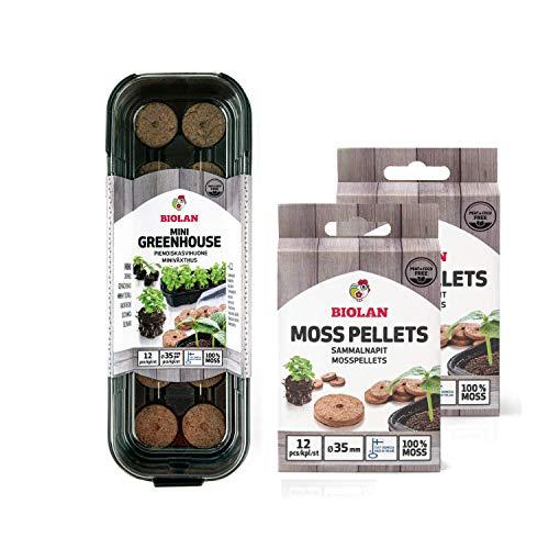 Biolan - Mini serra per 12 semi, 36 pezzi Piatti di muschio senza torba per la germinazione