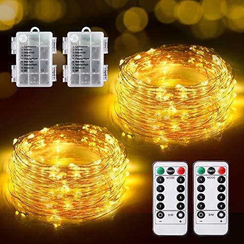Guirnalda Luces Pilas, [2 * 12M] TOPYIYI Luces LED Habitacion 240 LED...
