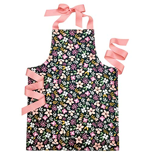 Handmade Navy Blue Confetti Floral Tween Girl Apron Gift for Kitchen Baking or Art